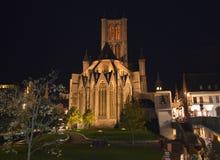 在Korenmarkt的夜视图在跟特, 2017年11月5日的比利时 免版税图库摄影