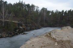 在Korostyshov附近的美丽的花岗岩峡谷 免版税库存图片