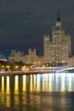 在Kotelnicheskaya堤防的高大厦在莫斯科 库存照片