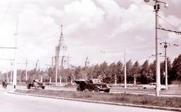 在Kotelnicheskaya码头July1962的莫斯科高层建筑物 库存图片