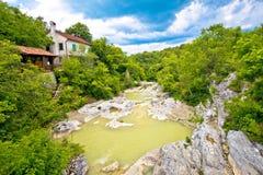 在Kotli视图的Mirna河床 库存照片