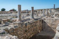 在Kourion塞浦路斯的古老罗马废墟 库存图片