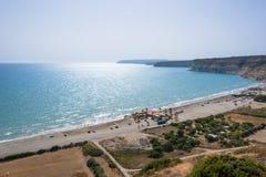 在Kourion海滩的看法 免版税库存图片