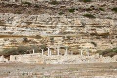 在Kourion,塞浦路斯的罗马废墟 库存照片