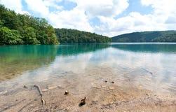 在Kozjak湖底部的石头  图库摄影