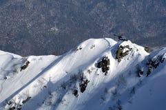 在Krasnaya Polyana的Heli滑雪。 免版税图库摄影
