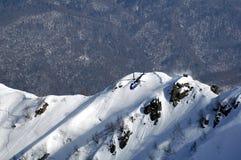 在Krasnaya Polyana的Heli滑雪。 库存照片