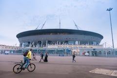 在Krestovsky海岛上的一个新的体育场,叫作圣彼得堡竞技场 俄国 库存图片