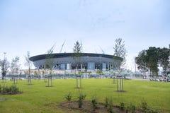 在Krestovsky海岛上的一个新的体育场,叫作圣彼得堡竞技场 俄国 免版税库存照片