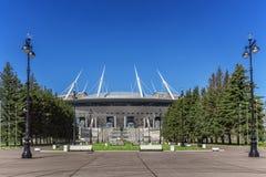 在Krestovsky海岛上的新的足球`圣彼德堡竞技场`在世界杯的圣彼德堡2018年 免版税库存图片