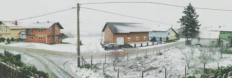 在KriÅ ¾ evci的雪 免版税库存图片