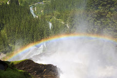 在Krimml瀑布的彩虹,奥地利 免版税库存照片