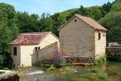 在Krka瀑布的Watermill 库存照片