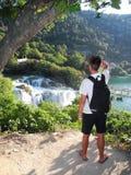 在Krka瀑布附近 免版税库存图片