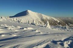 在Krkonose山的冬天 库存照片