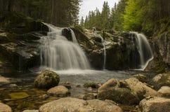 在Krkonose山的小易北河的瀑布 免版税库存照片