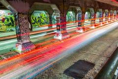 在Krog街隧道墙壁上的街道画  免版税库存照片