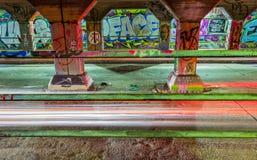 在Krog街隧道墙壁上的街道画  免版税库存图片