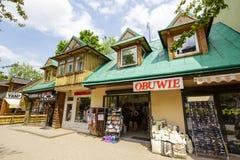 在Krupowki的住宅和商业大厦 图库摄影