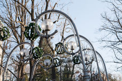 在Krupowki的街灯在扎科帕内 免版税库存图片