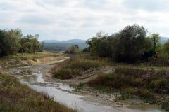 在Krymsk附近的河Adagum河床 免版税库存图片