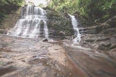 在Kubah国家公园,西部沙捞越,婆罗洲,马来西亚密集的雨林的庄严瀑布  成为不饱和和被定调子的图象,  免版税库存照片