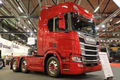 在Kuljetus的红色下一代斯科讷R500卡车2017年 免版税图库摄影