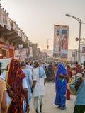 在Kumbh Mela的人群 免版税图库摄影