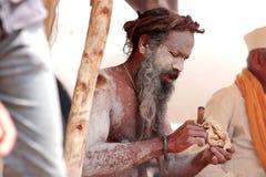 在Kumbha Mela的纳卡人sadhu 库存图片