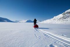 在Kungsleden的滑雪的浏览 免版税库存图片