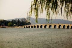 桥梁在北京公园 库存照片