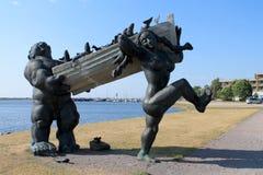 在KURESAARE,爱沙尼亚的古铜SKULPTURE 库存照片