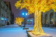 在Kuznetsky的发光的树多数街道 免版税库存照片