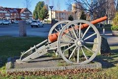 在Kvarnängen的一门老大炮在Boden 库存图片