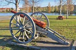 在Kvarnängen的一门老大炮在Boden 库存照片