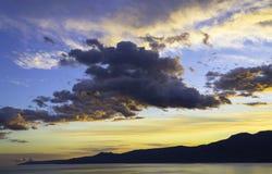 在Kvarner的日落,力耶卡,克罗地亚 免版税库存图片