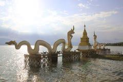 在Kwan帕尧,泰国的白色纳卡人雕象 图库摄影