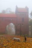 在Kwidzyn城堡的有雾的日 免版税图库摄影