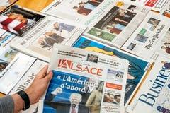 在L `阿尔萨斯盖子的唐纳德・川普就职典礼 免版税库存图片