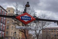 在La拉提纳马德里的地铁中止 免版税库存图片