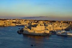 在La瓦莱塔马耳他的日落 免版税库存照片