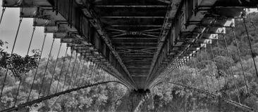 在la雷乌尼翁冰岛的暂停的桥梁从下面 免版税库存照片