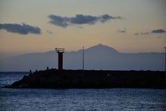 在la Aldea大加那利岛的日落 免版税库存图片