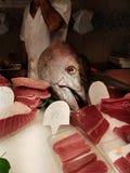 在La Boqueria的鱼在巴塞罗那,西班牙 免版税库存照片