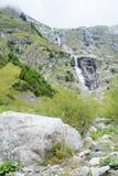 在La Fouly的小瀑布 库存照片