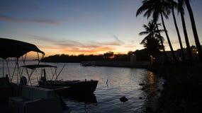 在La Parguera,波多黎各的晚上。Atardecer en  库存图片