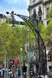 在La Pedrera附近的灯Gaudi 库存图片