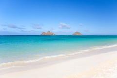 在Lanikai的热带海滩 库存照片