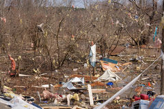 在Lapeer, MI的龙卷风后果。 图库摄影