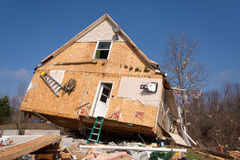 在Lapeer, MI的龙卷风后果。 库存照片